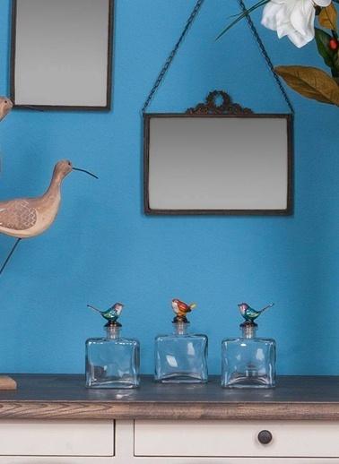Warm Design Kuş Figürlü Dekoratif Cam Şişe Kırmızı